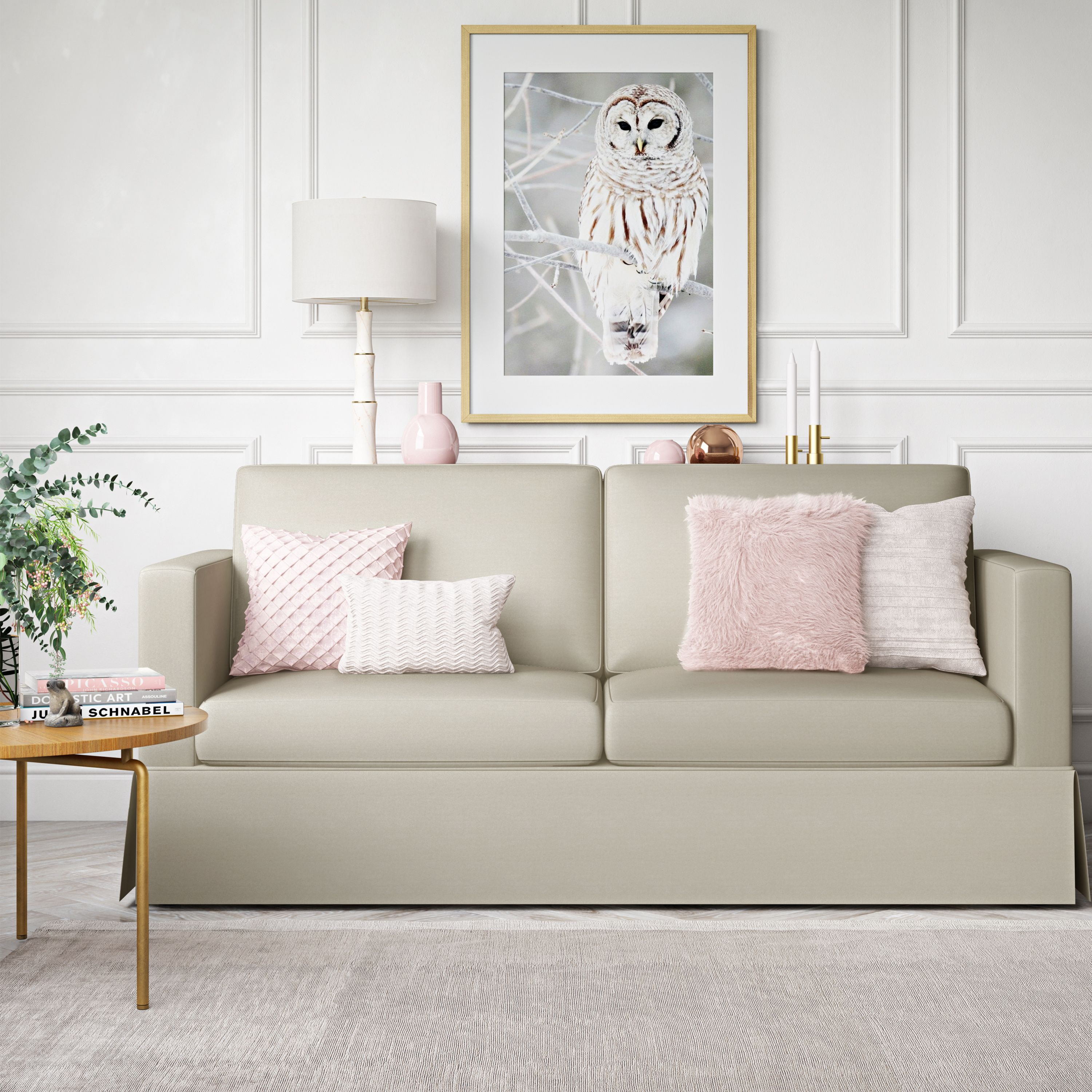 Better Homes and Gardens Russel Skirted Slipcover Sofa, Beige