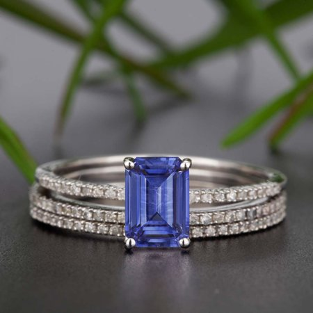 2 Carat Emerald Cut Real Sapphire and Diamond Wedding Trio Ring Set with Engagement Ring and 2 Wedding Bands in 18k Gold Over