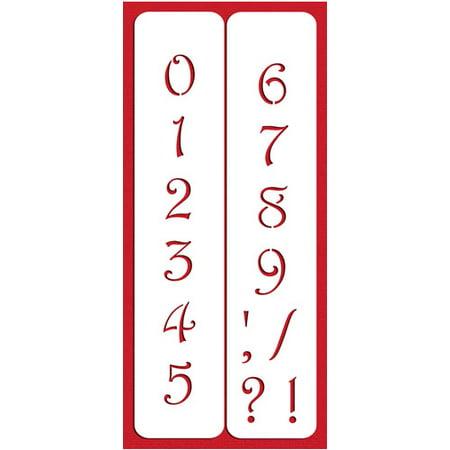 Designer Stencils C140 2.25 Inch Contemporary Numbers Cake Stencils, Beige/semi-transparent