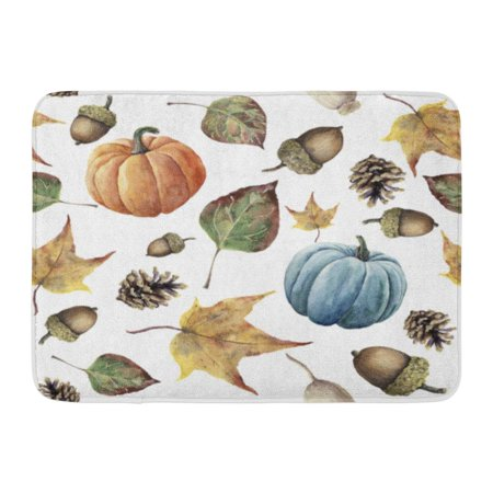 GODPOK Watercolor Autumn Hand Pine Cone Acorn Berry Yellow and Green Fall Leaves and Pumpkin White Botanical Rug Doormat Bath Mat 23.6x15.7 inch