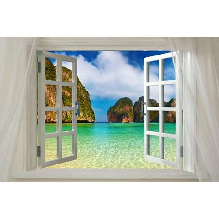 Window To Maya Bay Phi Phi  Thailand Scenic Poster 24X36 Tropical Paradise
