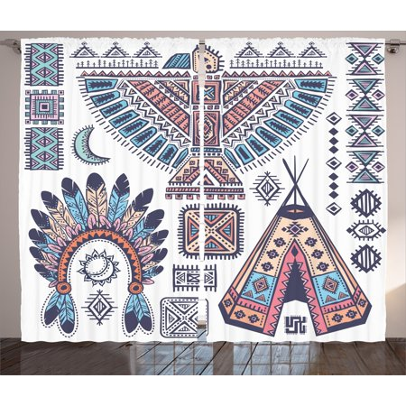 Tribal Curtains 2 Panels Set, Ethnic Teepee Tents Eagle Symbol Moon Sun and Feather Chief Hat Print, Window Drapes for Living Room Bedroom, 108W X 63L Inches, Coral Blue and (Tribal Sun Eagle)