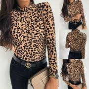CA Women Leopard Print Turtle Neck Blouse Autumn Long Sleeve T-shirts Party Tops