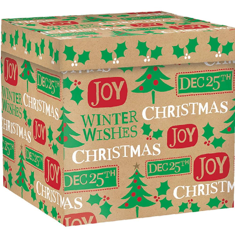 Amscan Christmas Kraft Gift Box, 9.5 X 9.5 X 9.5 inches by