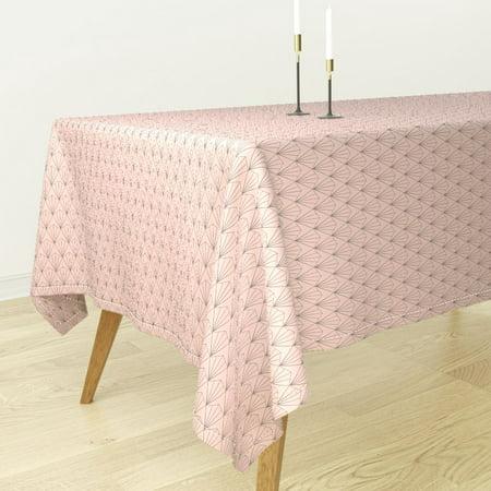 Tablecloth Deco Pink Art Deco Geometric On Blush Pink Simple Deco Cotton Sateen