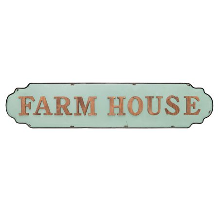 Farmhouse Antique Mint Green Tin Enamel Wall Sign ()