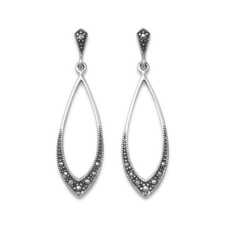 Long Teardrop Vintage Antique Drop Earrings with Marcasite Sterling Silver