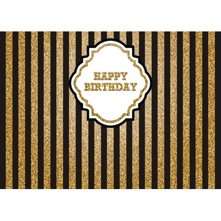 HelloDecor Polyester Fabric 7x5ft gold golden yellow striped happy birthday backdrop party background - Golf Part