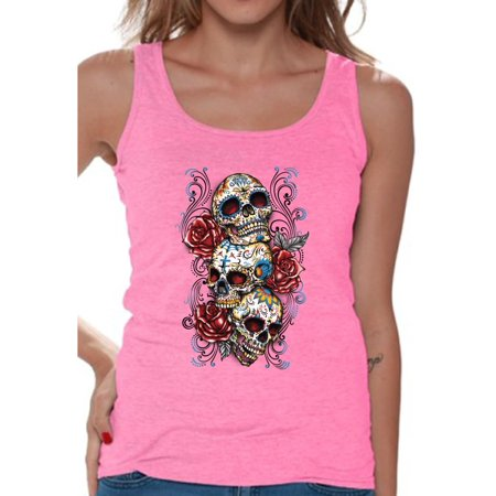 Awkward Styles Women's Three Sugar Skulls and Roses Graphic Tank Tops Day of the (Skull Universal Tank Protector)