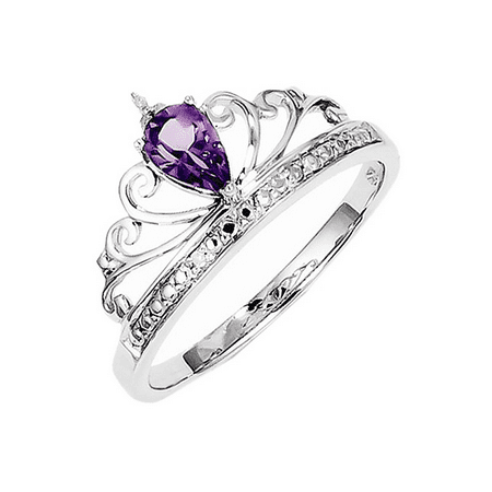 925 Sterling Silver Princess Tiara Pear Cut Amethyst and Diamond Crown Ring