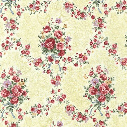 Emma 2- Rose Garland/Sage by Robert Kaufman - Cotton Fabric