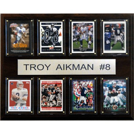 C&I Collectables NFL 12x15 Troy Aikman Dallas Cowboys 8-Card Plaque - Dallas Cowboys Office Supplies