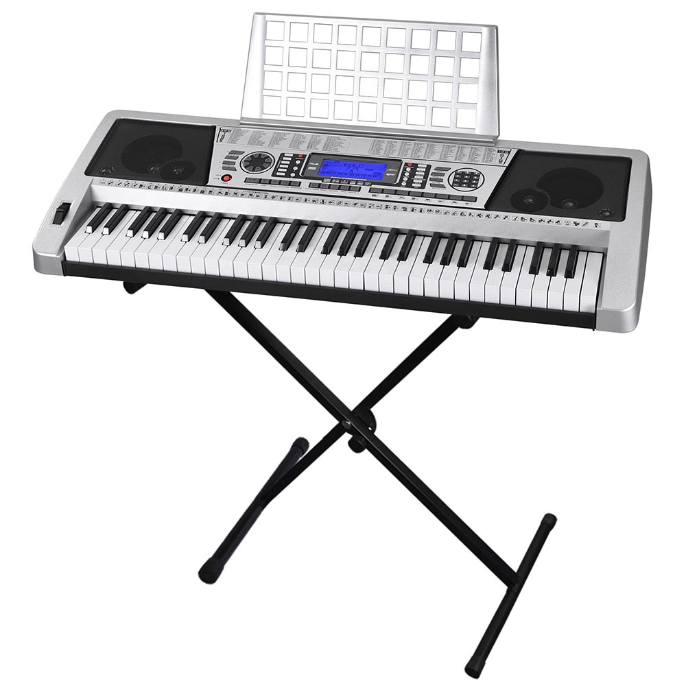 """Electronic Piano 61 Key LCD Display Keyboard 37"""" w/ Adjustable X-Stand Music Electric Silver"""