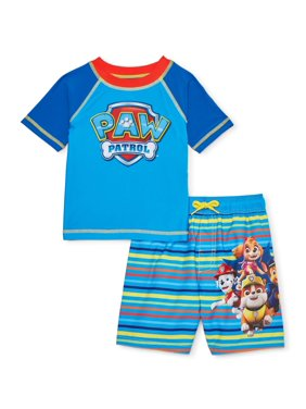 Paw Patrol Toddler Boys Rashguard & Swim Trunks, 2pc Set