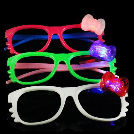 12 Pairs of LED Hello Kitty No Lense Flashing Light Up Party Glasses ()
