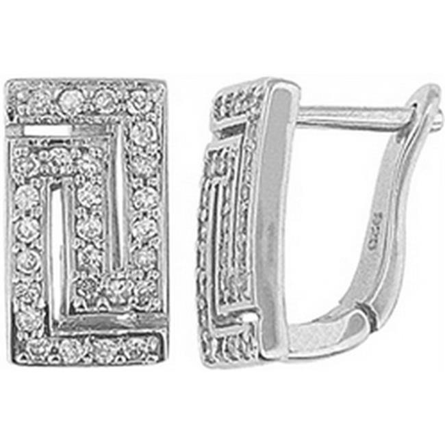 Doma Jewellery DJS01923 Sterling Silver (Rhodium Plated) Earring with CZ - 14mm Height