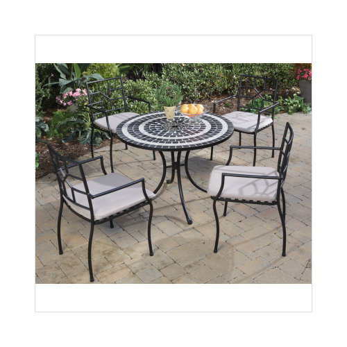Home Styles Delmar 5 Piece Dining Set With Cambria Slope Armchairs,  Black/Slate