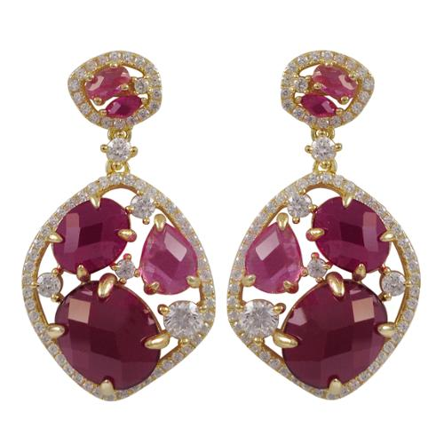 Gold Finish Sterling Silver Lab-created Ruby Dangle Earrings