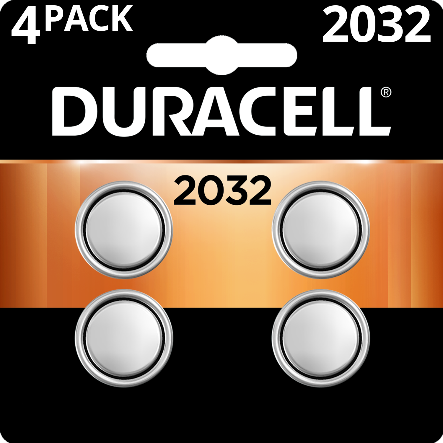Duracell 3V Lithium Coin Battery 2032, 4 Pack Batteries