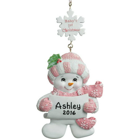 First Christmas Carriage (Personalized Christmas Ornament - Baby's 1st Christmas Girl Snowman)