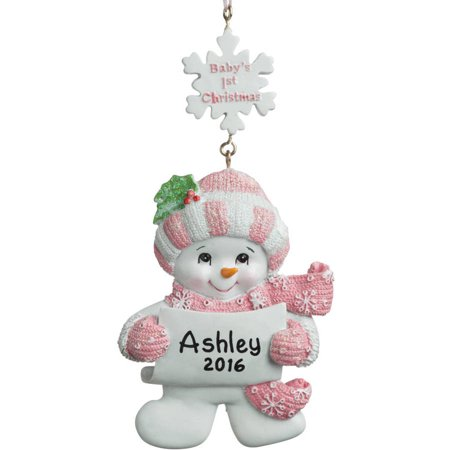 Tart Ornament (Personalized Christmas Ornament - Baby's 1st Christmas Girl Snowman)