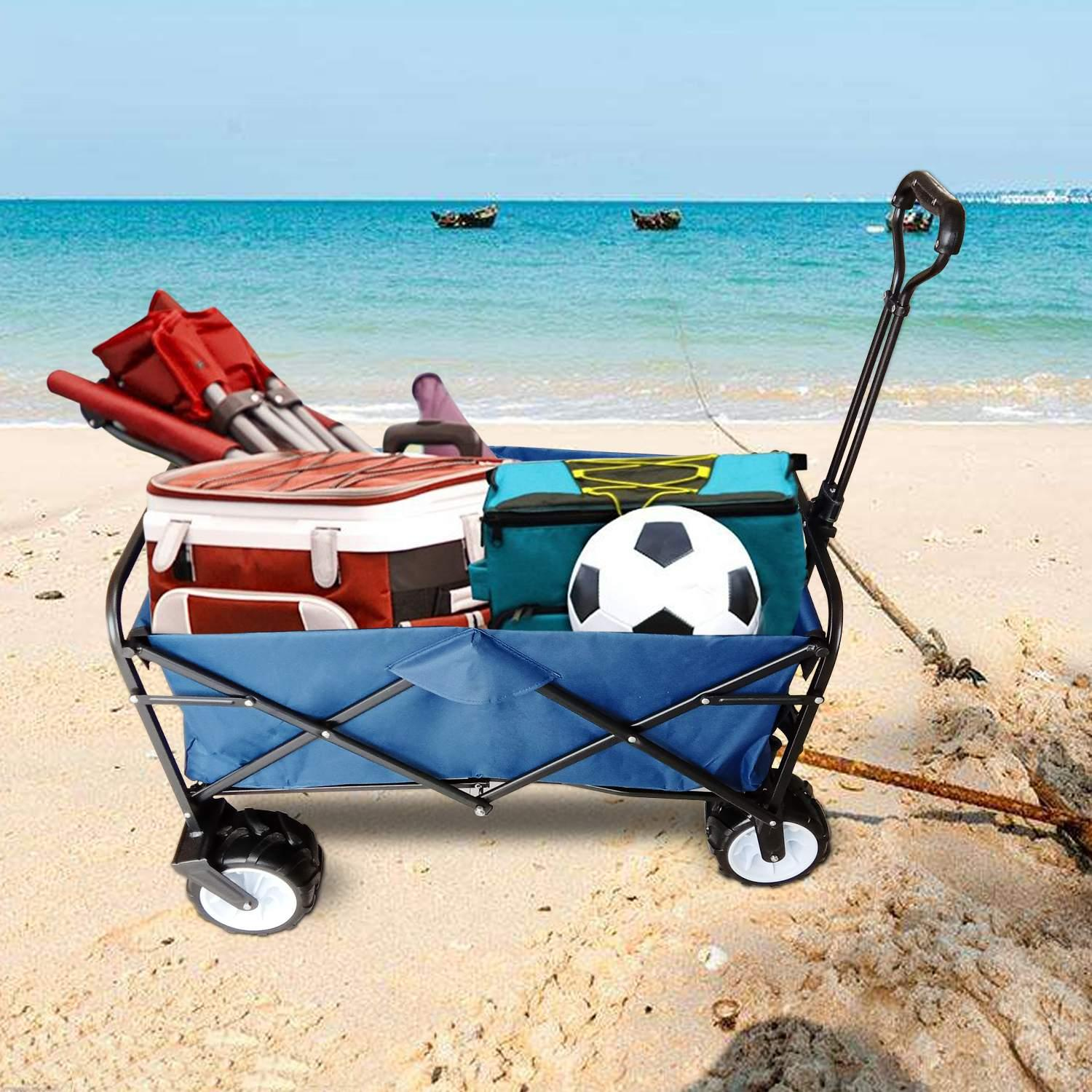 150lbs Ancheer Sports Beach Wagon Cart Heavy Duty Collapsible Steel Frame Outdoor Garden Utility WSY by