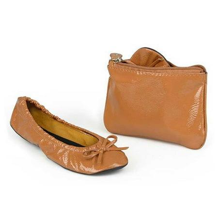 Sidekicks Patent Tan, Folding Ballet Flats