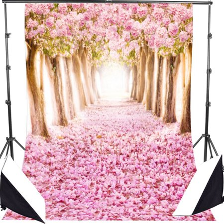 GreenDecor Polyster 7x5ft Pink Romantic Path Cherry Blossom Photo Studio Photography Backdrop Background Studio Prop Best For