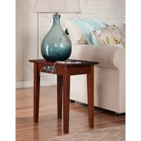 Shaker Chair Side Table with Charging Station in Walnut or Caramel