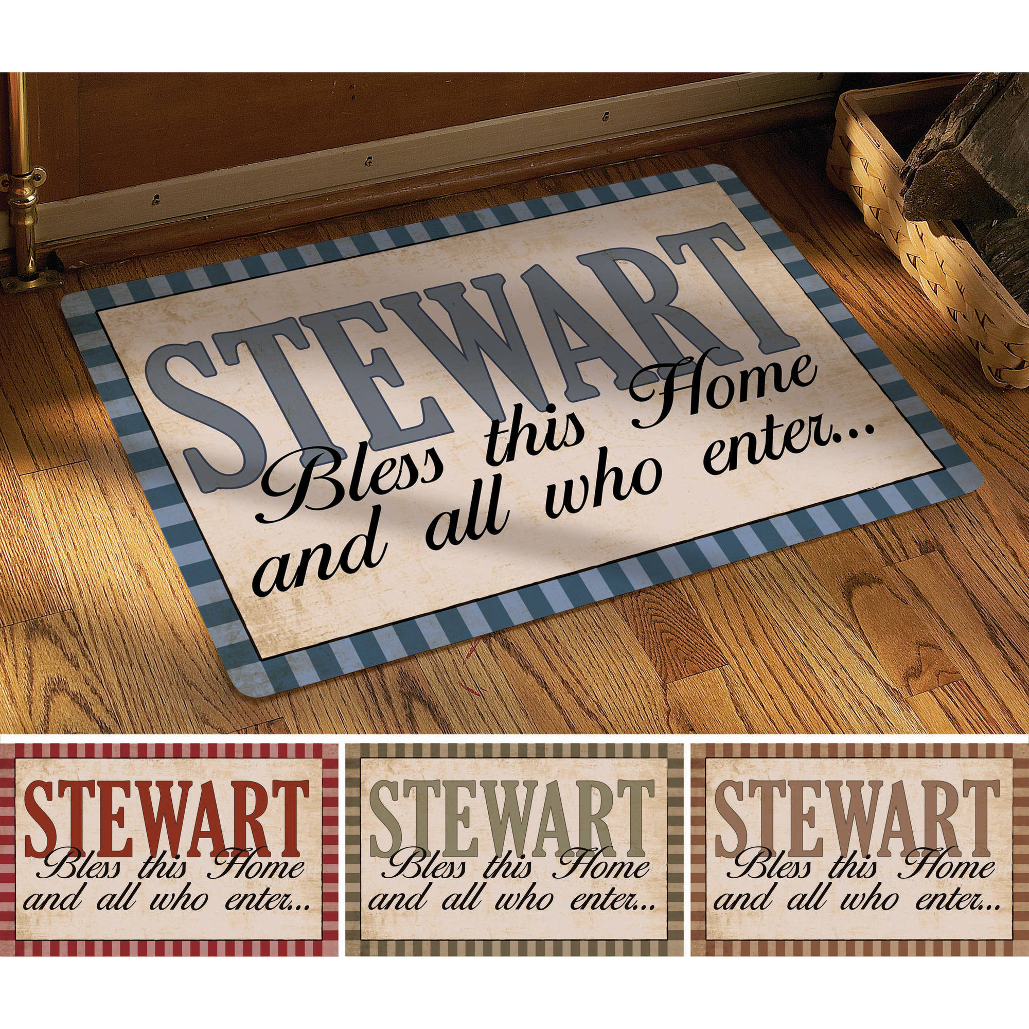 "Personalized ""Rustic Bless All Who Enter"" Doormat, 24"" x 36"", Available in Multiple Colors"