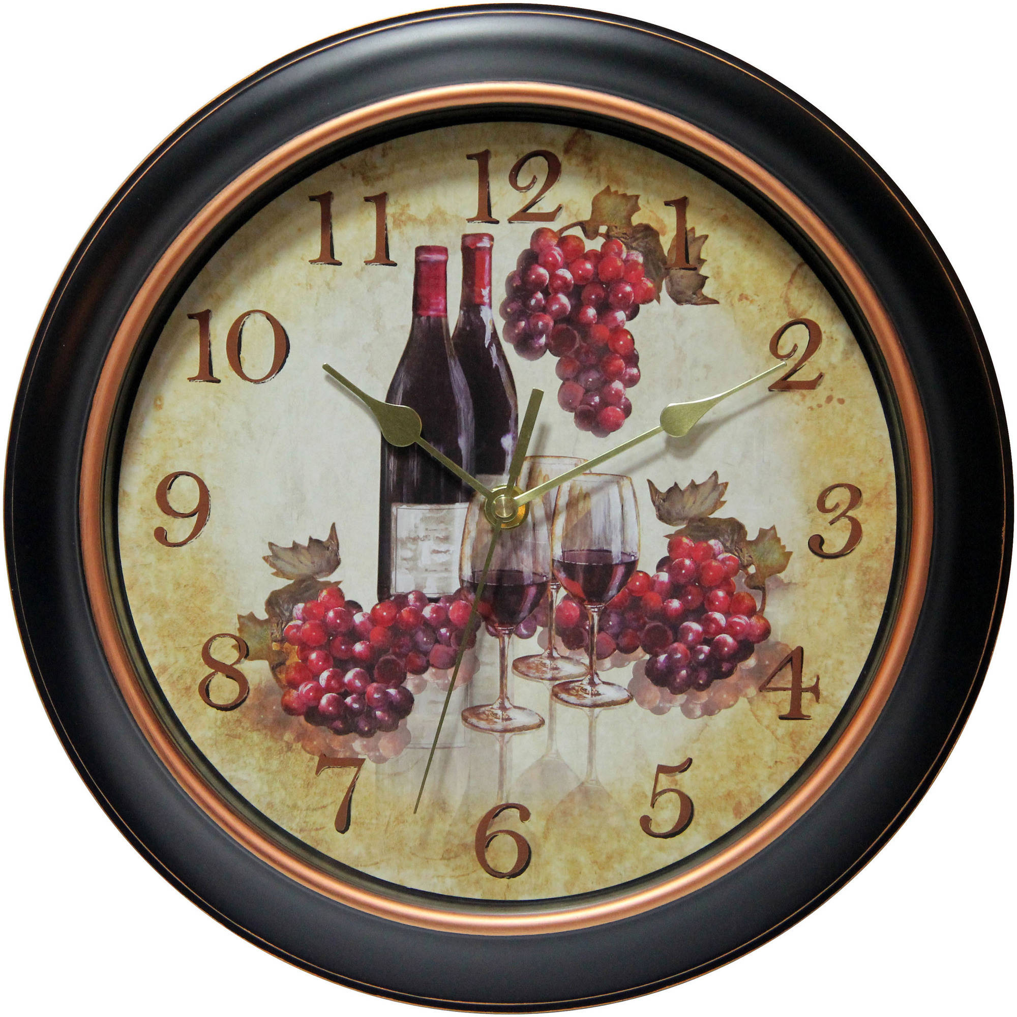 Infinity Instruments Valencia 12  Silent Wine and Grapes Wall Clock