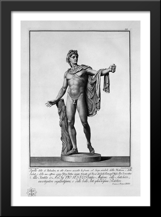 Apollo Belvedere 28x40 Large Black Wood Framed Print Art by Giovanni Battista Piranesi by FrameToWall