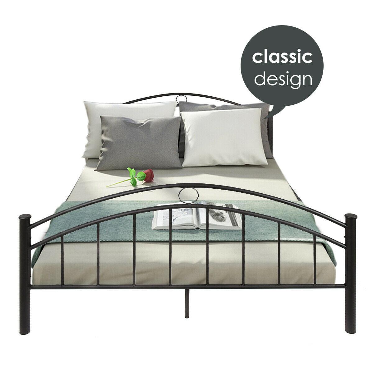 45d0e14ef9e5 Costway Queen Size Metal Bed Frame Mattress Platform Headboard Black |  Walmart Canada