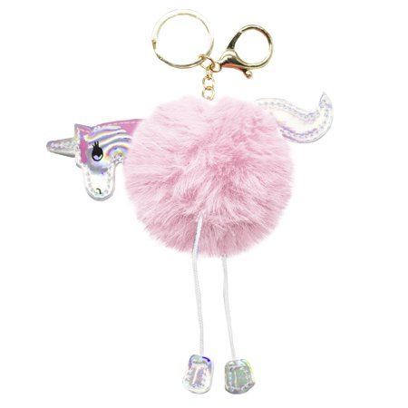 Fabulous Plush Fluffy Unicorn Pom Pom Key Chain Bag Purse Charms Key Rings (Pink Key Charm)
