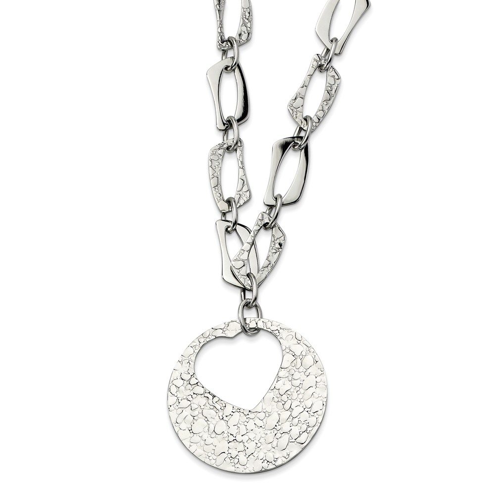 Stainless Steel Polished & Textured Heart Cutout Pendant22 w/ 2in Ext Necklace.