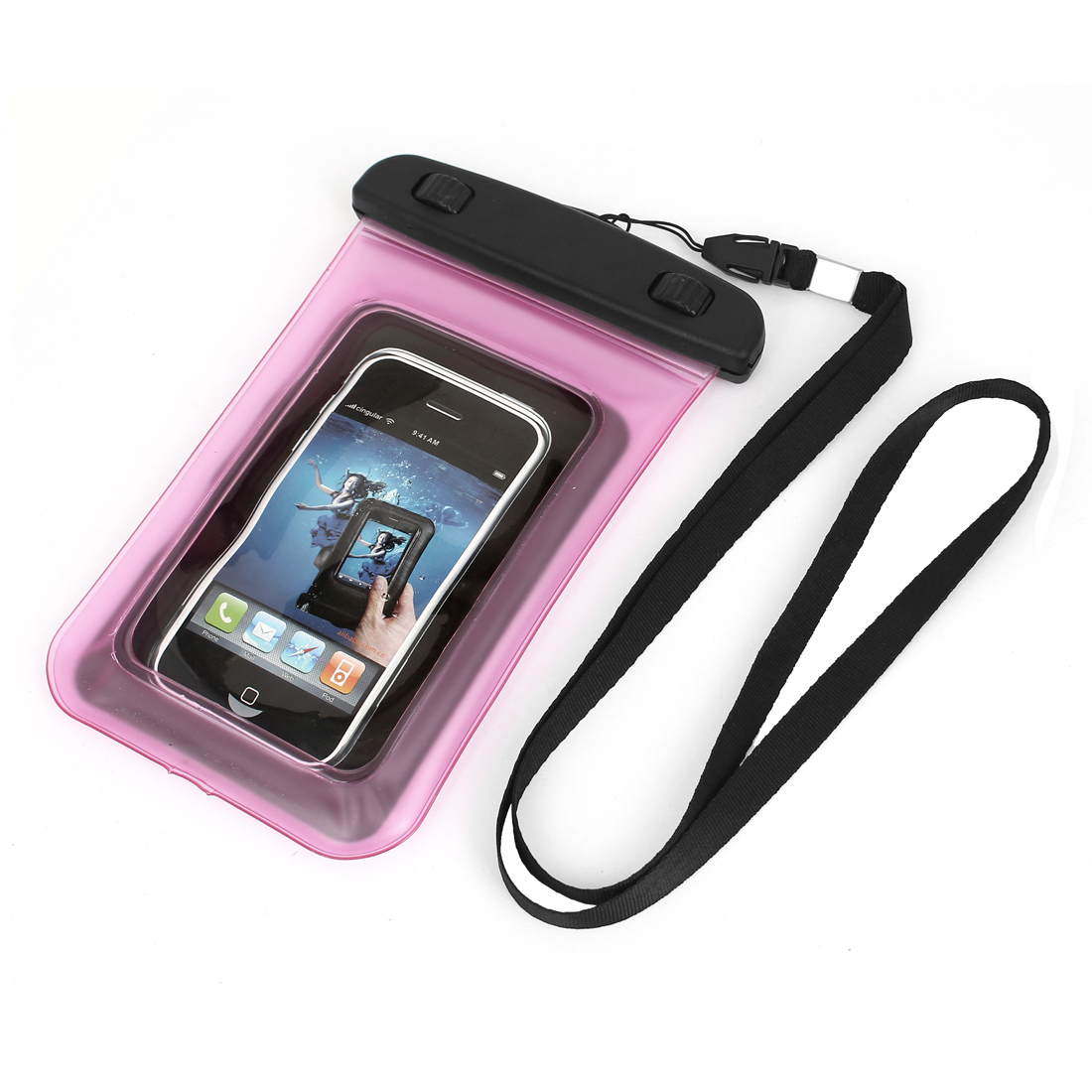 Unique Bargains Transparent Guard Pouch Waterproof Bag Dry Cover Case Pink for 4  Mobile Phone