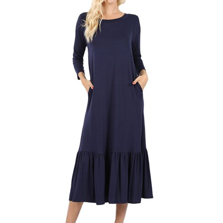 3494e90f9d3 Loving People PLUS SIZE Solid 3/4 Sleeve Ruffled Mid Length Dress, 2XL, Navy