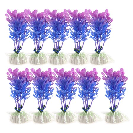 Aquarium Blue Purple Plastic Landscaping Aquatic Plant Decor 10cm Height 10pcs