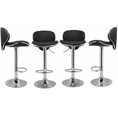 Magshion PU Leather Adjustable Swivel Dinning Counter Bar Stools Chrome Curved Seat Chair Set of 4 Black ()
