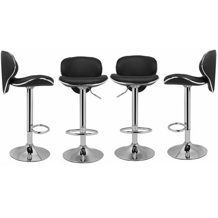 - Magshion PU Leather Adjustable Swivel Dinning Counter Bar Stools Chrome Curved Seat Chair Set of 4 Black