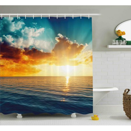 Sunset Shower Curtain Long Exposure Magical Horizon Panorama Over Ocean Dramatic Sky Dusk Serene Image