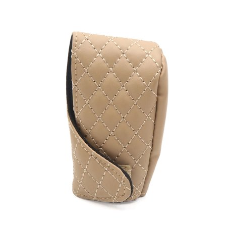 Leather Shift Knob Auto (Universal Beige Faux Leather Shift Knob Cover Protective Sleeve for Auto Car)