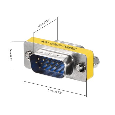 DB15 VGA Gender Changer 15 Pin Male to Male 3-row for Serial Applications10pcs - image 1 de 4
