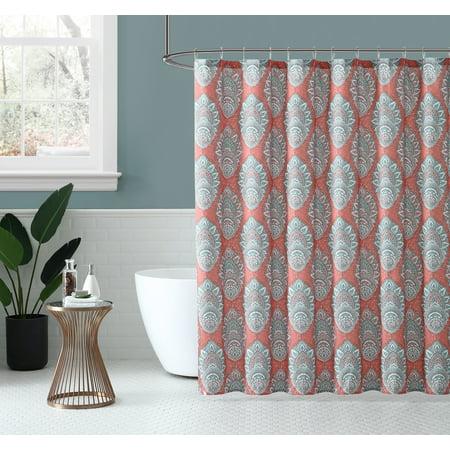 Peach & Oak, Fabric Shower Curtain - Zaria Print - 80% Polyester / 20% Cotton - 72