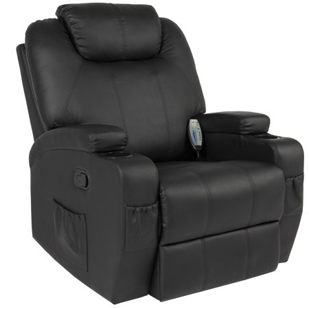 Best Choice Products Executive Faux Leather Swivel Electric Massage Recliner Chair w/ Remote Control, 5 Heat & Vibration Modes, 2 Cup Holders, 4 Pockets, Black (Series Leather Swivel Recliner)