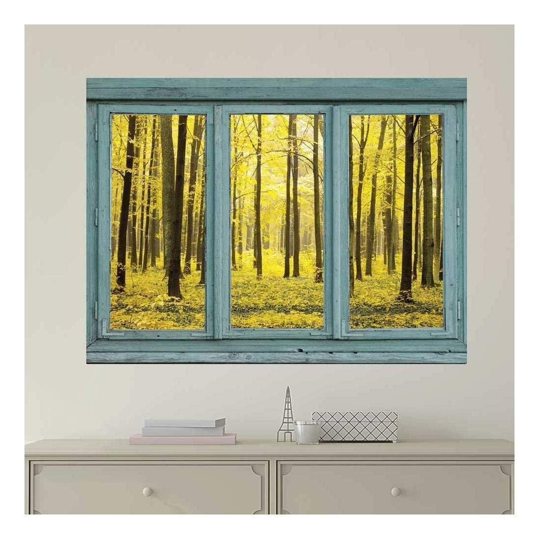 wall26 Vintage Teal Window Looking Out Into a Yellow Forest - Wall Mural, Removable Sticker, Home Decor - 24x32 inches