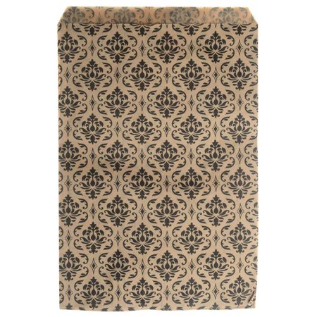Paper Bag Crafts (Paper Gift Bags, for Jewelry and Crafts 9 x 6 Inches, Brown with Black Victorian Damask Pattern, 100)