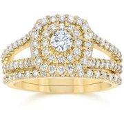 Bliss 10k Yellow Gold 1 1/ 10 ct TDW Diamond Cushion Halo Engagement Ring Set