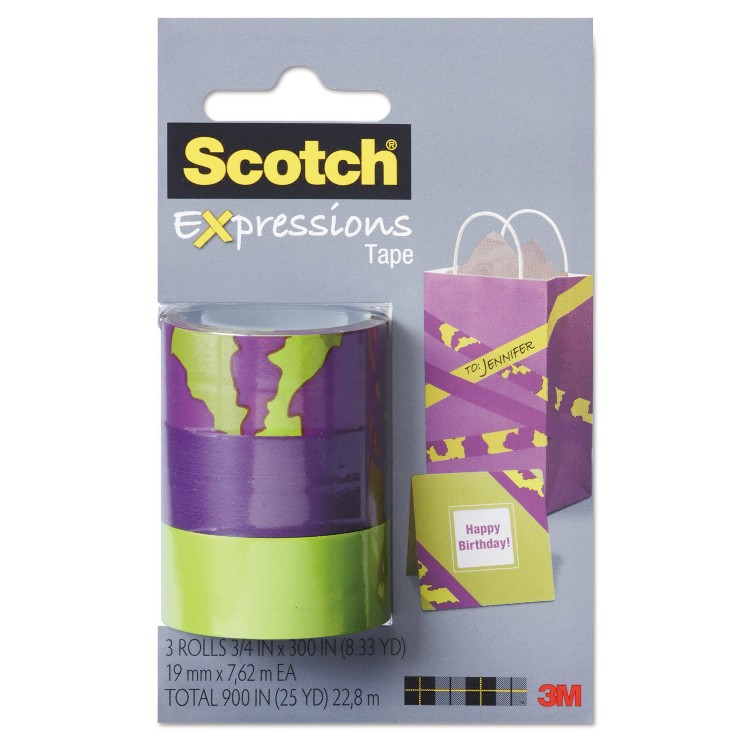 """Scotch Expressions Magic Tape, 3/4"""" x 300"""", Assorted Animal, 3/Pack"""