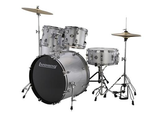 """Ludwig 5 Piece Accent """"Drive"""" Drum Set (Silver Foil) by Ludwig"""